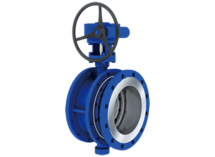 Triple eccentric telescopic butterfly valve with flange