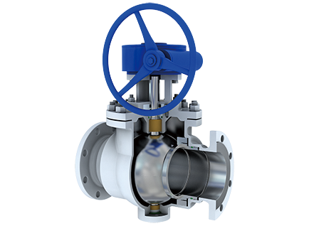 Flange connection jacket type fixed ball valve